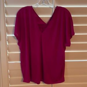 Pretty pink blouse with gathered drapery in back